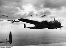 Dornier17Z bomber formation with the coastline behind them. (wikipedia commons)