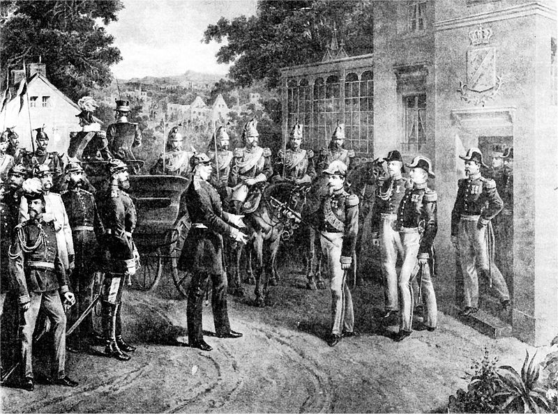 Napoleon III Surrenders his Sword after the Battle of Sedan (wikipedia Commons)