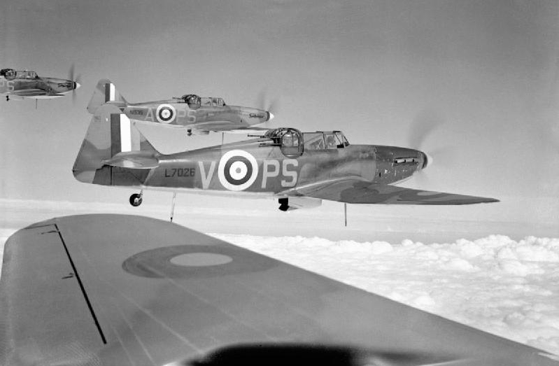 No 264 Squadron Defiants in formation (Wikipedia Commons)