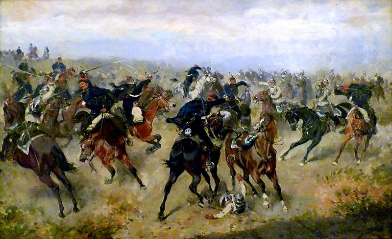 Cavalry battle between Imperial and Royal Hussars and Prussians Cuirassiers at the battle of Königgrätz (Alexander von Bensa, 1866).