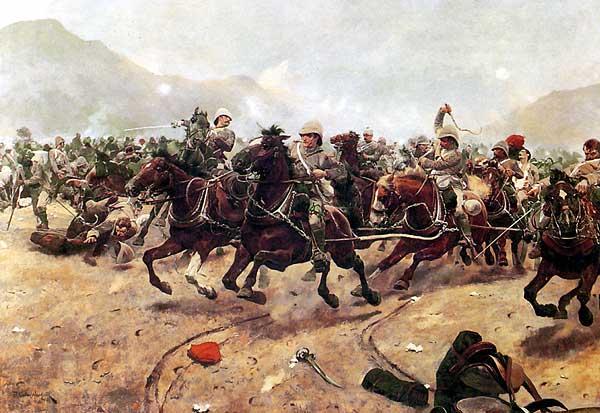 """""""Maiwand: Saving the Guns"""" by Richard Caton Woodville.(wikipedia commons)"""