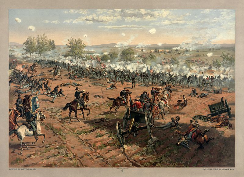 "Pickett's Charge. at Gettysburg, taken from ""Hancock at Gettysbug"" by Thure de Thulstrup, Restoration by Adam Cuerden. (wikipedia commons)"