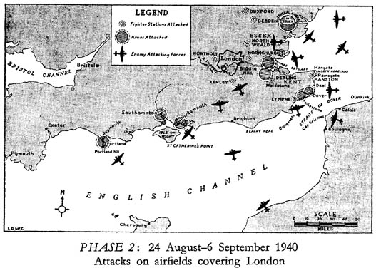 Map showing the locations of the actions on 26th August 1940.  (New Zealand Official History)