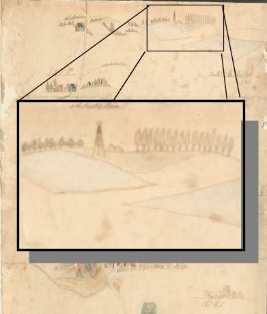Extract from sketch map made on the field of Waterloo 1815 (National Army Museum)