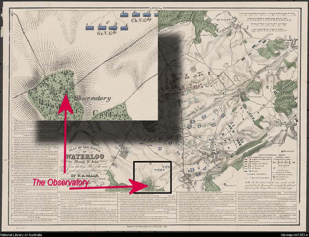 Location of Observatory on Craan's map of Waterloo 1816