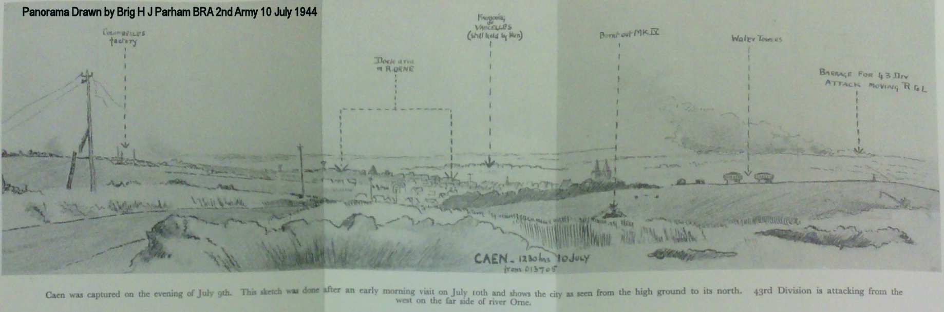 Panorama drawn by Brigadier H J Parham  BRA 2nd Army from GR 013705 on the high ground North of Caen at 12.30 on 10th July 1944.