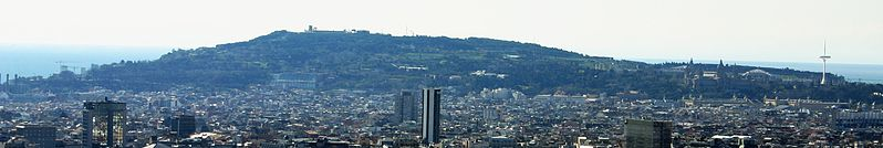 Montjuïc from the North of the city.