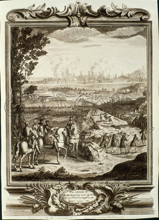 Lord Peterbporough supervises the siege of Barcelona . Note the bombardment from Montjuïc on the left.