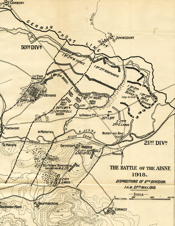 The Battle of the Aisne May 1918: 8th Infantry Division dispositions