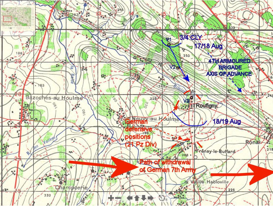1:50,000 map showing movement of B Sqn 3rd/4th CLY 18th Aug 1944