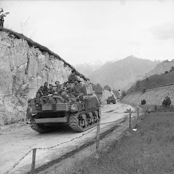 British troops approach Austria May 1945