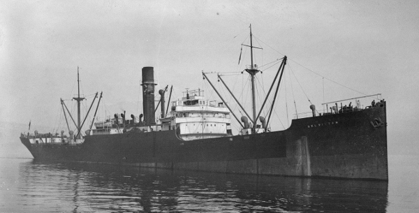 SS Selvistan, sunk on 5 May 1943 while part of  ONS 5 by U 266.  Gne R Clarke of 3 Maritime Regiment was killed in the attack