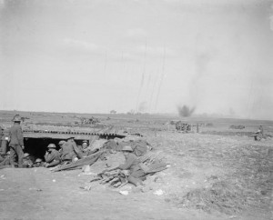 18 Pdr guns under fire at the Battle of Arras 24 Apr 1917