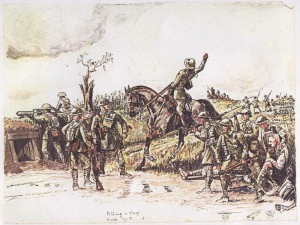 This Walford watercolour captures the spirit of the actions by Chestnuts, D and O Batteries in March 1918