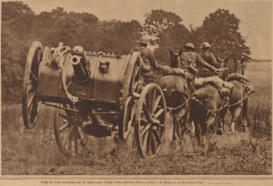 """British Artillery speeding along in pursuit of the fleeing foe."" Did the NY Tribune publish a picture of E Battery in October 1918?"