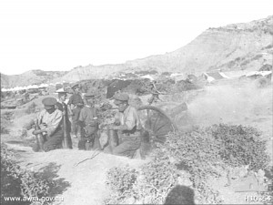 "5"" Bkl Howitzers firing Gallipoli 1915"