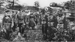 SP Guns of the 21st Panzer Division inspected by Rommel