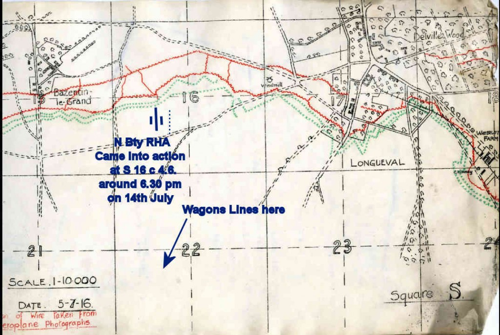 N Battery RHA came into action just short of the wire protection the 14 July German Front line