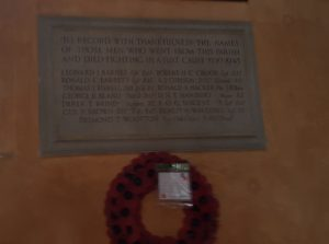 Memorial to Second World War dead: Aldbourne Parish Church